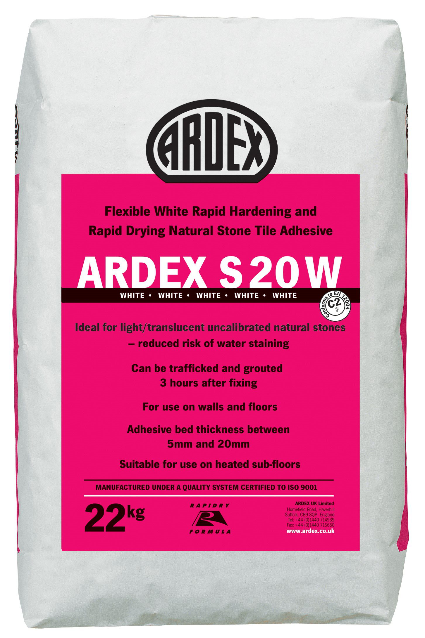Ardex s20w flexible tile adhesive white 22kg bag screed giant ardex s20w flexible tile dailygadgetfo Image collections